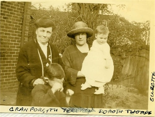 Louisa Forsyth (nee Small), Dorothy, Terence and Suzette Thorpe